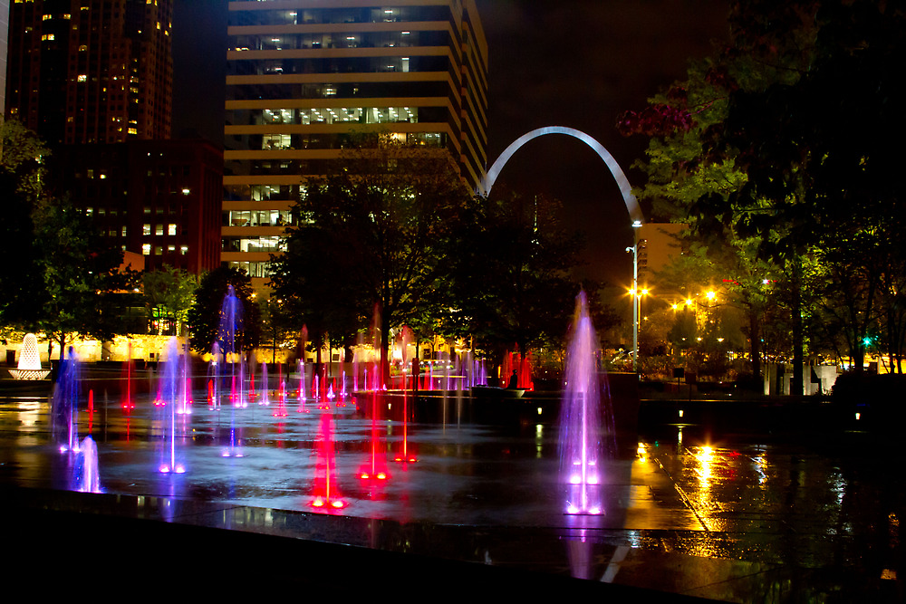 Night City Garden St Louis Arch by L2Photography