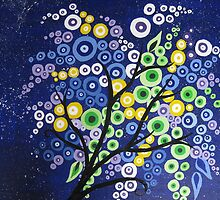 blue green yellow and purple circle tree with stars by cathyjacobs