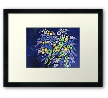 blue green yellow and purple circle tree with stars Framed Print