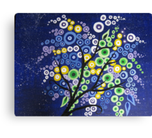 blue green yellow and purple circle tree with stars Canvas Print