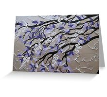 purple and silver zen tree painting with blossom Greeting Card
