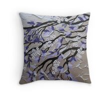purple and silver zen tree painting with blossom Throw Pillow