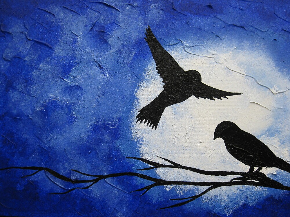 midnight birds crossing the moon by cathyjacobs