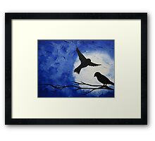 midnight birds crossing the moon Framed Print