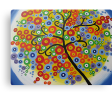 rainbow tree with circle leaves Canvas Print