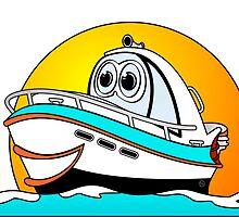 Caribbean Cartoon Motor Boat by Graphxpro
