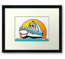 Caribbean Cartoon Motor Boat Framed Print