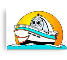 Caribbean Cartoon Motor Boat Canvas Print