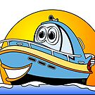 Blue Cartoon Motor Boat by Graphxpro