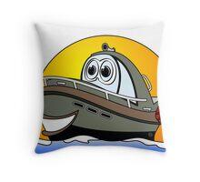Camo Cartoon Motorboat Throw Pillow