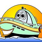 Green Motor Boat Cartoon by Graphxpro