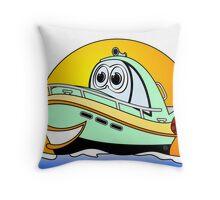 Green Motor Boat Cartoon Throw Pillow