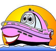 Pink Cartoon Motor Baot by Graphxpro