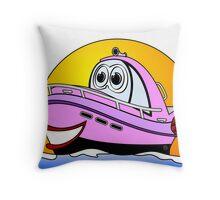 Pink Cartoon Motor Baot Throw Pillow