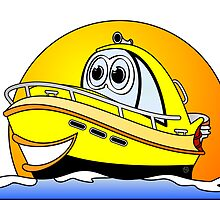 Yellow Cartoon Motor Boat by Graphxpro