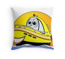 Yellow Cartoon Motor Boat Throw Pillow