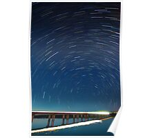 Elizabeth River Bridge Star Trails Poster