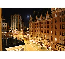 Empress Hotel at NIght - Side View Photographic Print