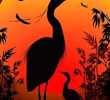 Heron Shape on Stunning Sunset by BluedarkArt