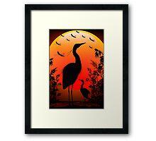 Heron Shape on Stunning Sunset Framed Print