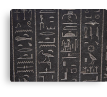 Egyptian hieroglyphs at the british museum in London Canvas Print