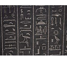 Egyptian hieroglyphs at the british museum in London Photographic Print