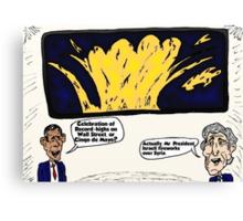 Israel in Syria Kerry Obama Political Cartoon Canvas Print