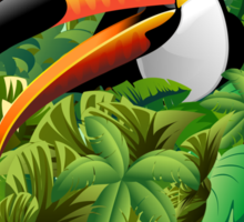 Toucan on Wild Green Jungle  Sticker
