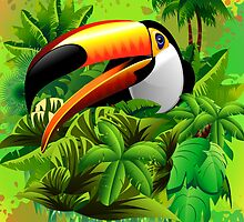 Toucan on Wild Green Jungle  by BluedarkArt