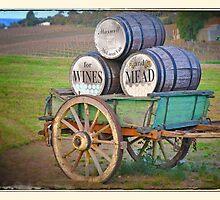 Cart & Wine Barrels 2 by Rob Kelly