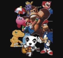 Pokemon, Digimon, Kirby, donkey kong, Animal crossing, spyro, sonic all i one shirt!!!! by linwatchorn