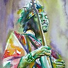 JIMI HENDRIX PLAYING the GUITAR - watercolor portrait.2 by lautir