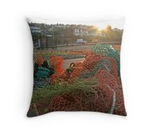 Early morning Trawlers net Throw Pillow