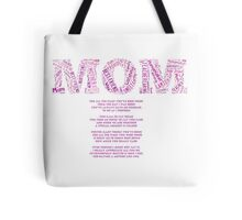 Mom word art with inspirational loving poem Tote Bag