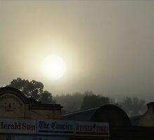 Misty Sun - Main Street Facade, Clunes, Victoria by jackgreig