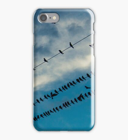 Swallows on the wires 2 iPhone Case/Skin