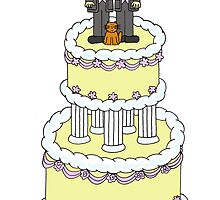 Civil partnership grooms, cake and a cat. by KateTaylor