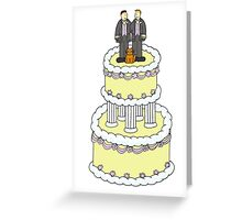 Civil partnership grooms, cake and a cat. Greeting Card
