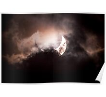 Crescent Sun behind the Clouds Poster