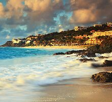 Surf on the Rocks at Dawn Beach by Roupen  Baker