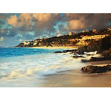 Surf on the Rocks at Dawn Beach Photographic Print