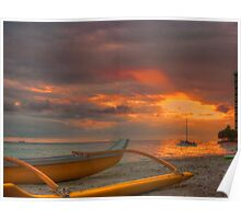 Waikiki Beach sunset Poster