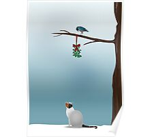 Cat, Bird and Mistletoe Poster