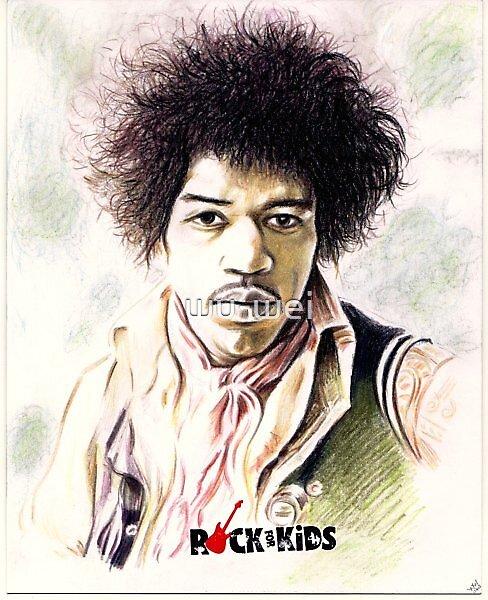Jimi Hendrix charity portrait by wu-wei