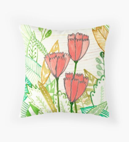 Three Popular Pink Tulips Throw Pillow