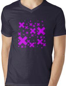 Pink Emo Crosses Mens V-Neck T-Shirt