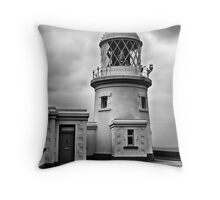 Pendeen Lighthouse Black and White Throw Pillow