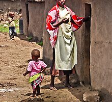 Masai Tribe - Mom and Child by Charuhas  Images