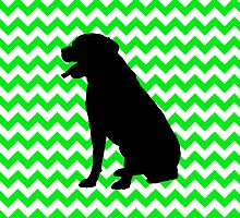 Irish Green Chevron with Labrador Silhouette by pjwuebker