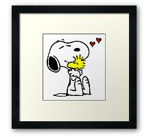 Snoopy and Woodstock Hug Framed Print